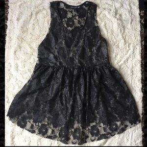 Living Doll Black Rose Lace Shimmery top